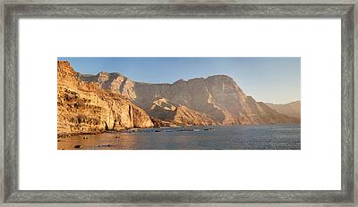 Rock Formations At Coast, El Dedo De Framed Print by Panoramic Images