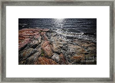 Rock Formations At Georgian Bay Framed Print by Elena Elisseeva