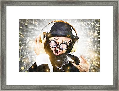Rock Man With Beard Listens To Music On Earphones Framed Print by Jorgo Photography - Wall Art Gallery