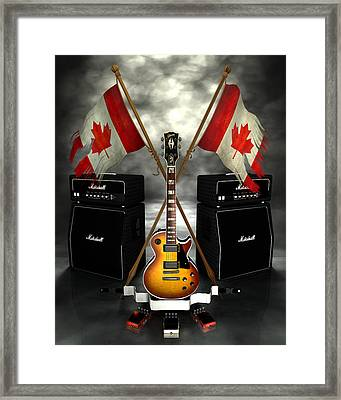 Rock N Roll Crest - Canada Framed Print by Frederico Borges
