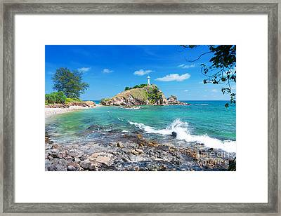 Rock Sea And Sky Framed Print