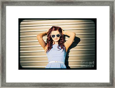 Rockabilly Greaser Pin-up. 50s Drive-in Culture Framed Print