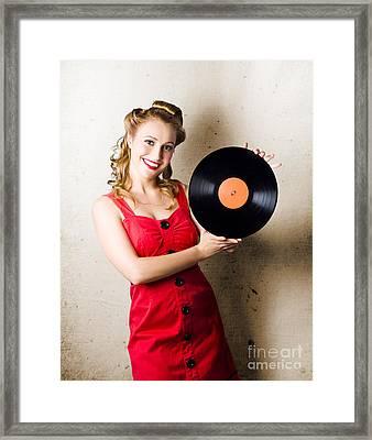 Rockabilly Music Girl Holding Vinyl Record Lp Framed Print