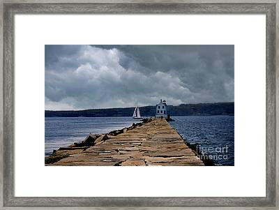 Rockland Breakwater Lighthouse Framed Print by Skip Willits