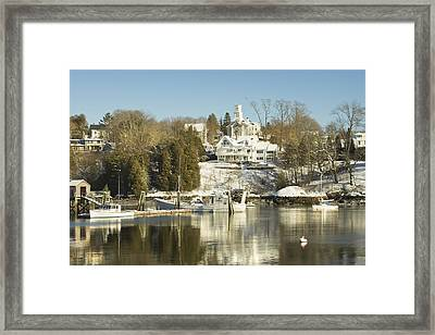 Rockport In Winter On The Coast Of Maine Framed Print by Keith Webber Jr