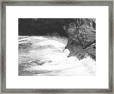 Rolling Breakers In Lava Cave Framed Print