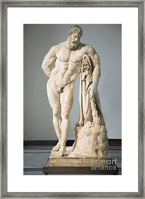 Roman Statue Of Hercules Framed Print