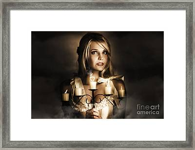 Romantic Blonde Woman Holding The Light Of Love Framed Print by Jorgo Photography - Wall Art Gallery