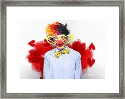 Romantic Comedy Clown Wearing Heart Shape Glasses Framed Print