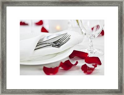 Romantic Dinner Setting With Rose Petals Framed Print by Elena Elisseeva