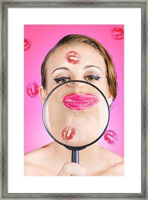 Romantic Makeup Woman Looking At Lips Framed Print by Jorgo Photography - Wall Art Gallery