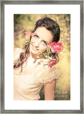 Romantic Rose Woman Framed Print by Jorgo Photography - Wall Art Gallery