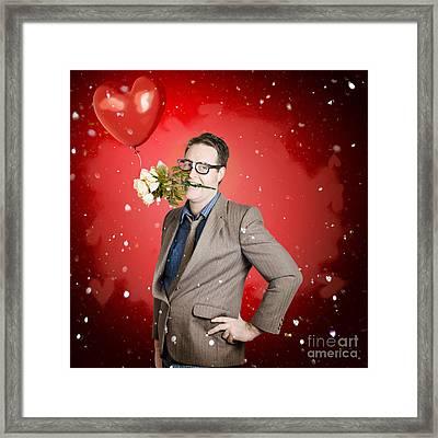 Romantic Valentine Man Holding Flowers On Date Framed Print