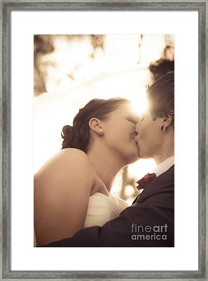 Romantic Wedding Kiss Framed Print