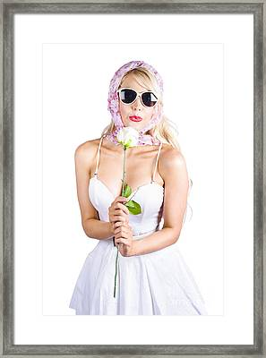 Romantic Woman Making White Rose Wish Framed Print by Jorgo Photography - Wall Art Gallery