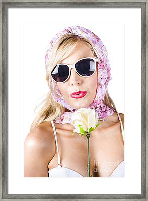 Romantic Woman With Flower Framed Print