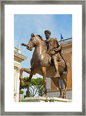 Rome, Italy. Statue Of Marcus Aurelius Framed Print by Ken Welsh