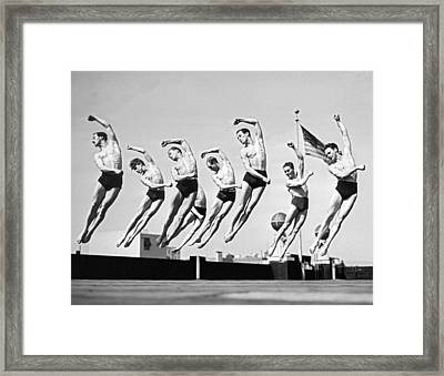 Rooftop Dancers In New York Framed Print by Underwood Archives