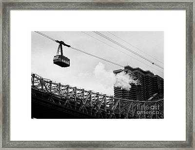 Roosevelt Island Aerial Tram Cable Car And Queensboro Bridge New York City Framed Print