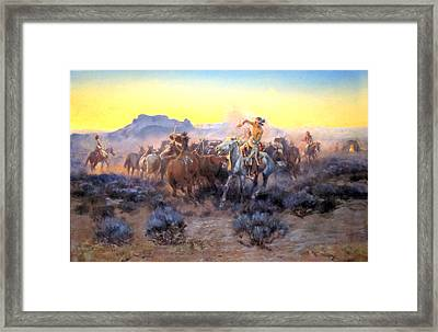 Roping Fresh Mounts Framed Print by Charles Russell
