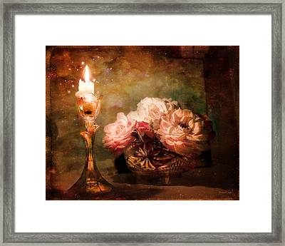 Roses By Candlelight Framed Print by Theresa Tahara