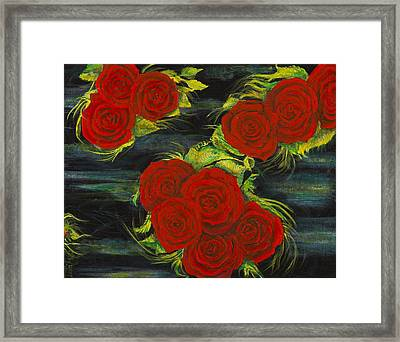 Framed Print featuring the painting Roses Floating by Cathy Long