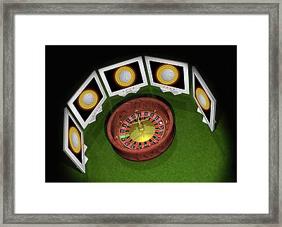Roulette Wheel And Bitcoins Framed Print