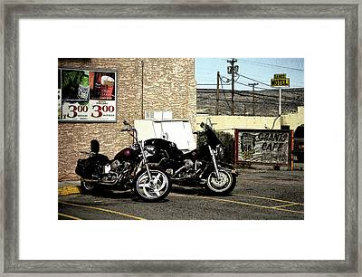 Route 66 - Grants New Mexico Motorcycles Framed Print by Frank Romeo
