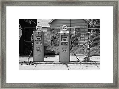 Route 66 - Illinois Gas Pumps Framed Print by Frank Romeo