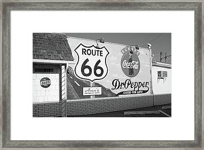 Route 66 - Mural With Shield Framed Print by Frank Romeo