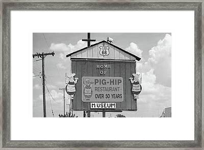 Route 66 - Pig-hip Restaurant Framed Print by Frank Romeo