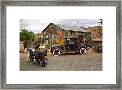 Route 66 Vintage Auto And Shed Framed Print by Frank Romeo