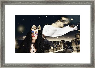 Royal Damsel In Distress Waving White Castle Flag Framed Print by Jorgo Photography - Wall Art Gallery