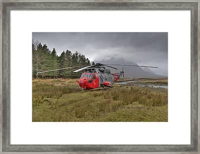 Royal Navy Sar Sea King Xz920 Glencoe Framed Print by Gary Eason