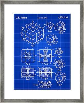 Rubik's Cube Patent 1983 - Blue Framed Print