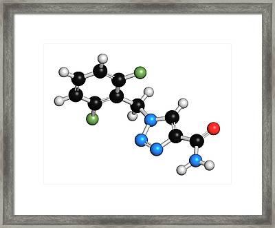 Rufinamide Seizures Drug Molecule Framed Print by Molekuul