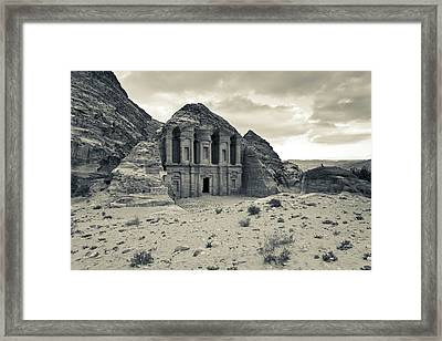 Ruins Of Ad Deir Monastery At Ancient Framed Print