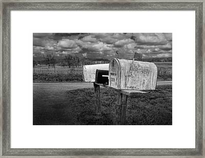 Rural Mailboxes Along A Country Road Framed Print by Randall Nyhof