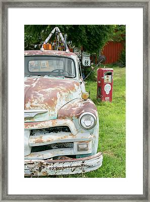 Rusted Antique Automobile, Tucumcari Framed Print by Julien Mcroberts
