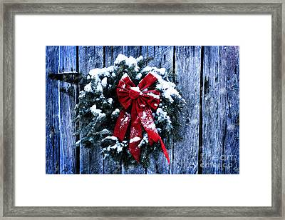 Rustic Christmas Wreath Framed Print by Stephanie Frey