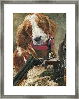 Framed Print featuring the painting Rusty - A Hunting Dog by Mary Ellen Anderson