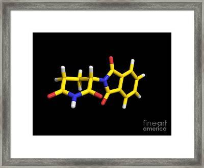 S-thalidomide Drug Molecule, Computer Framed Print by Dr. Tim Evans