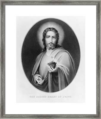 Sacred Heart Of Jesus Framed Print by Granger