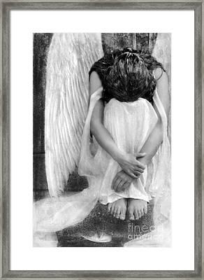 Sad Angel Woman Framed Print by Jill Battaglia