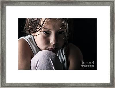 Sad Child Framed Print by Justin Paget