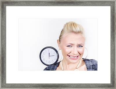 Sad Female Business Person About To Cry In Office Framed Print