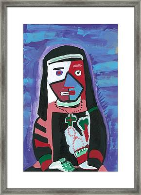Framed Print featuring the painting Sad Nun by Don Koester