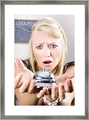 Sad Woman Holding Bell Of Bud Customer Service Framed Print by Jorgo Photography - Wall Art Gallery