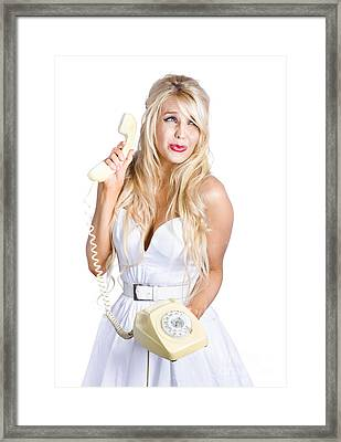 Sad Woman With Telephone Framed Print by Jorgo Photography - Wall Art Gallery