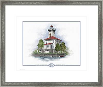 Saginaw River Lighthouse Framed Print by Harry Hine